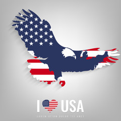 National USA symbol eagle with an official flag and map silhouette. North America. Vector