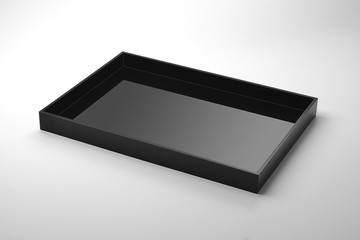 Rectangular tray black plexiglass
