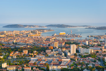 Toulon at sunset time
