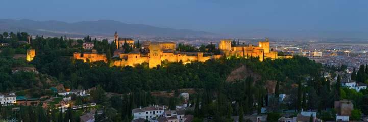 Canvas Prints Athens Panorama of night Alhambra in Granada