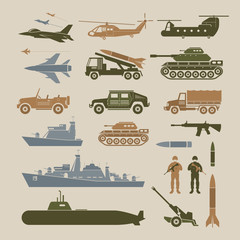 Military Vehicles Object Symbols Set, Side View, Army, Air Force, Navy, Marine, Icons