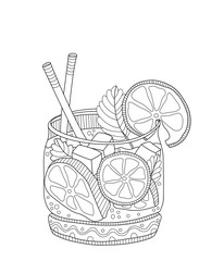 Mojito adult coloring page in zentangle style