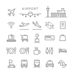 Airport Line Icons and Symbols Set, Plane, Transportation, Sign, Object