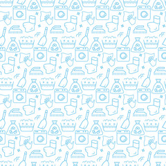 Seamless pattern with icons of cleaning items. Vector illustration.