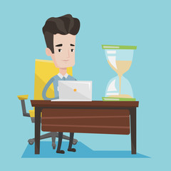 Businessman working in office vector illustration.