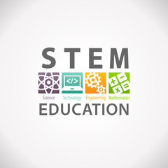STEM Education Concept Logo. Science Technology Engineering Mathematics.
