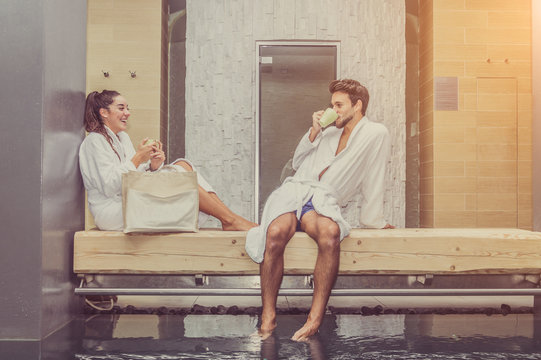 Loving couple have fun at the spa