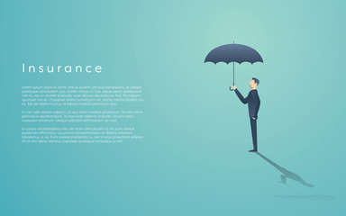 Business insurance concept with vector symbol of businessman and umbrella. Infographics element  space for text.