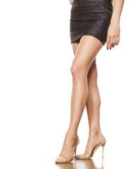 short dress, pretty feminine legs and high heels
