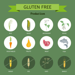 Icons foods containing gluten