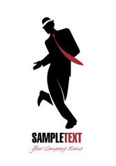 Wall Mural - Elegant man silhouette dancing jazz