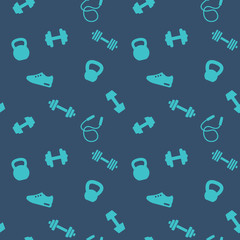 seamless pattern with gym icons, dumbbells, kettlebells, jumping rope, running shoe