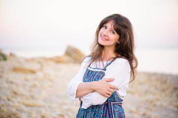 portrait of happy girl on the seashore