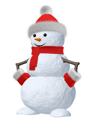 Snowman with scarf, hat and scarf on white