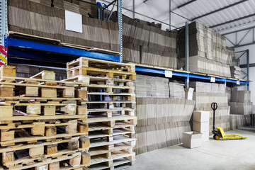 warehouse of paper and cardboard