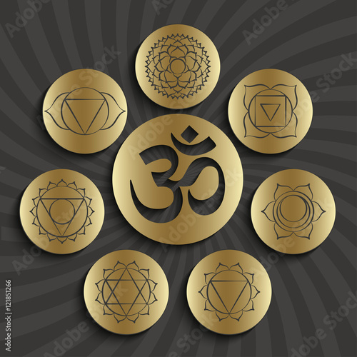 Chakra Pictograms And Symbol Om In The Centre Set Of Elements Used