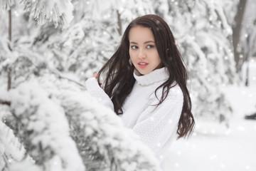 Under the Sun Frosty Scene. Beautiful brunette poring outdoor in winter