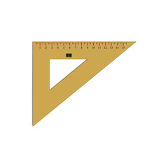 Triangle ruler. Student supplies image. Top view illustration.