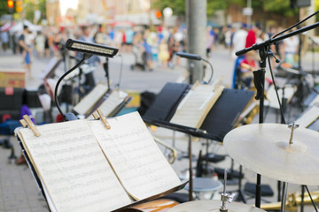Street concert set up