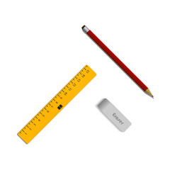 Set of eraser, a pencil and a ruler. Student supplies. Top view illustration.