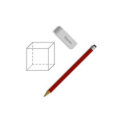 Set of eraser and a pencil. Geometrical figure drawn on paper. Student supplies image. Top view illustration.