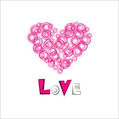 Love hearts drawn. Postcard Valentine's Day