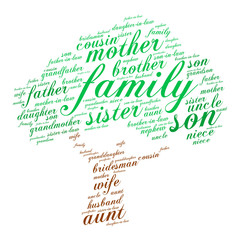 Family words cloud in shape of tree, social concept, white background