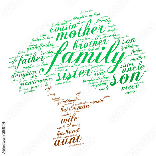 family words cloud in shape of tree social concept white