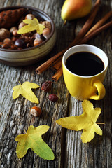 Nuts, fruit and cup of coffee
