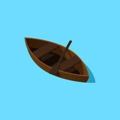 Isometric rowing boat. Paddle boat illustration. Isometric map pieces.