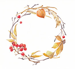 Watercolor illustration of wreath with autumn natural decorations.