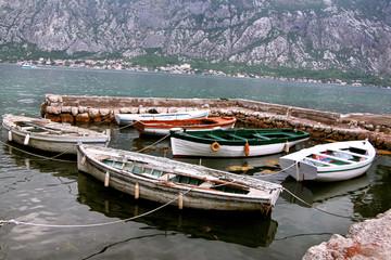 Small fishing boats anchored in the marina