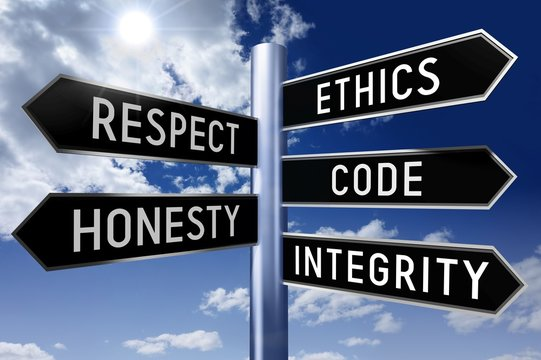 Signpost with 5 arrows - code of conduct concept (ethics, respect, code, honesty, integrity).