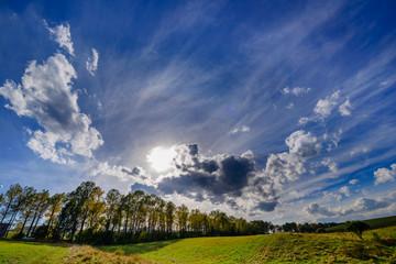 Fabulous cloudscape with beautiful trees, Armenia