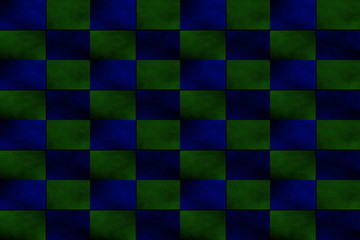 Illustration of an abstract dark blue and dark green chessboard
