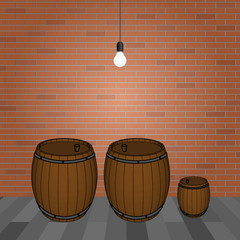 Wooden barrels for wine and brick wall with glowing light bulb. Vector illustration.