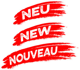 Neu! New! Nouveau! Angebot, Button, Wischer