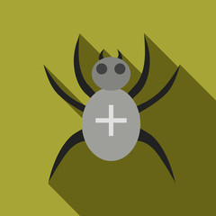 Black spider icon in flat style isolated with long shadow vector illustration