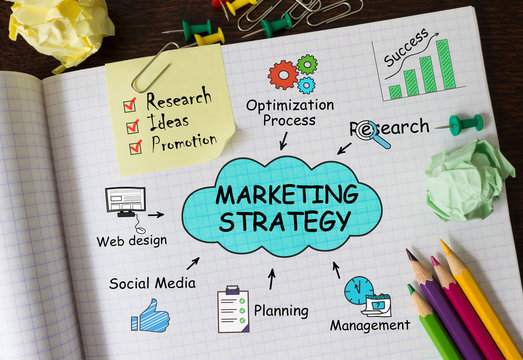 Notebook with Toolls and Notes about Marketing Strategy,concept