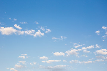 Small cloud group in clear sky background.