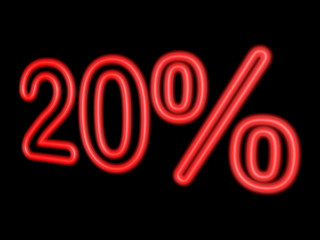 Neon 20 percent isolated on black, 3d illustration