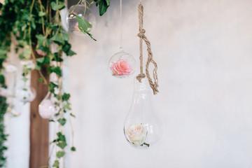 Beautiful Hand Made Wedding Decoration arch, flowers in jar. Boho style