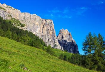 Sciliar mountain in Dolomite Alps. View from Alpe di Siusi, Italy