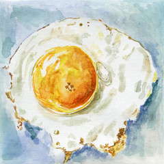 Hand drawn watercolor fried egg :)