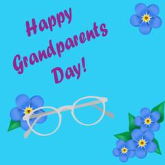 Grandparents Day, greeting card. Forget me not. Googles. Glasses. Blue font. Vector illustration