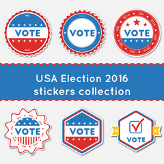 USA Election 2016 stickers collection. Buttons set for USA presidential elections 2016. Collection of blue and red patriotic badges. Round tokens vector illustration.
