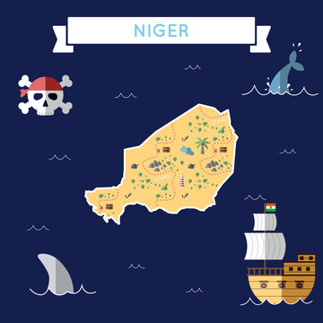 Flat treasure map of Niger. Colorful cartoon with icons of ship, jolly roger, treasure chest and banner ribbon. Flat design vector illustration.