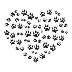Nice picture of animal tracks arranged in a heart shape.