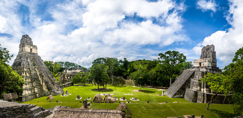 Mayan Temples of Gran Plaza or Plaza Mayor at Tikal National Park - Guatemala