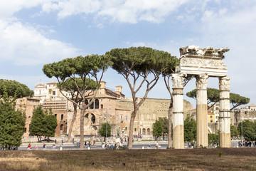 landscape of Via dei Fori Imperiali and Trajan's Forum in Rome